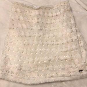 Hollister white crochet skirt small NWT